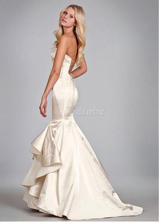 Robe de mariée sans manches sirène luxe satin longueur ras du sol - photo 1