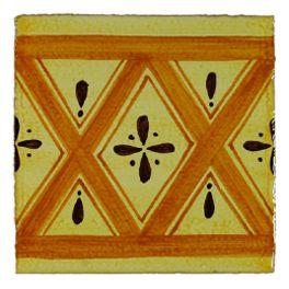 """Fabrication artisanale de carrelage peint à la main pour plan de travail et crédence de cuisine, sols et murs de salle de bain. Format 10,5 x 10,5 épaisseur 1,2 cm. Retrouvez la gamme Bohème dans nos packs déco : Tournesol, Rucher. Faiences unies """"Les oranges"""". Simple à poser, facile d'entretien, très résistant."""