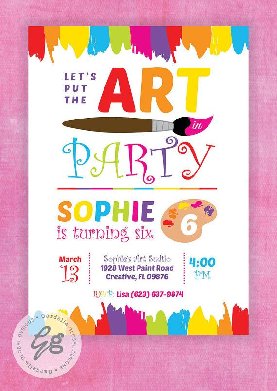 art party invitation art party invite rainbow art party paint