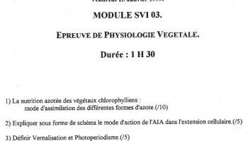 [sujet] Physiologie Végétale - DEUG - Licence - Janvier 1999