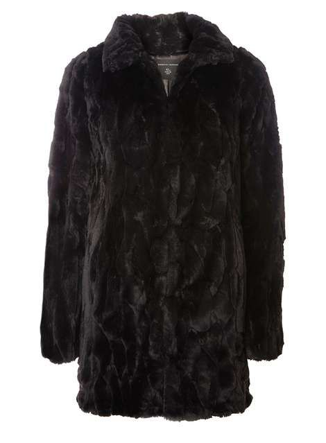**Tall Black Plush Coat - View all Tall Clothing - Shop By Fit - Dorothy Perkins