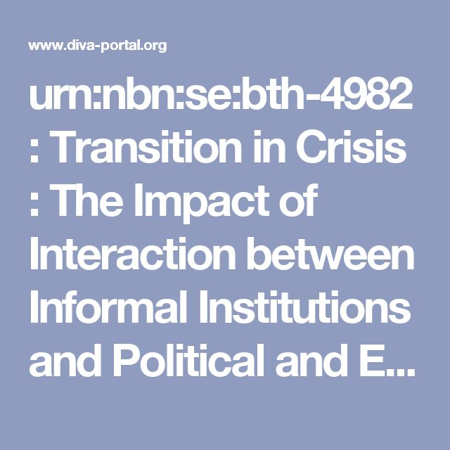 urn:nbn:se:bth-4982 : Transition in Crisis : The Impact of Interaction between Informal Institutions and Political and Economic Elite on Transition- The Case of Dalmatia and Croatia