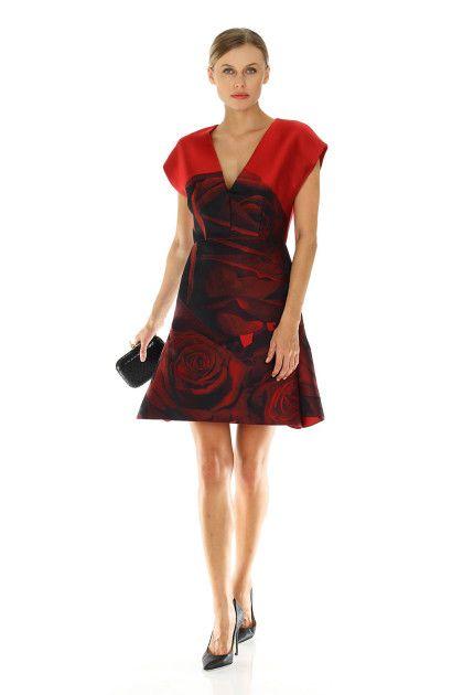 Giambattista Valli red dress FW2014.   Rent the look!