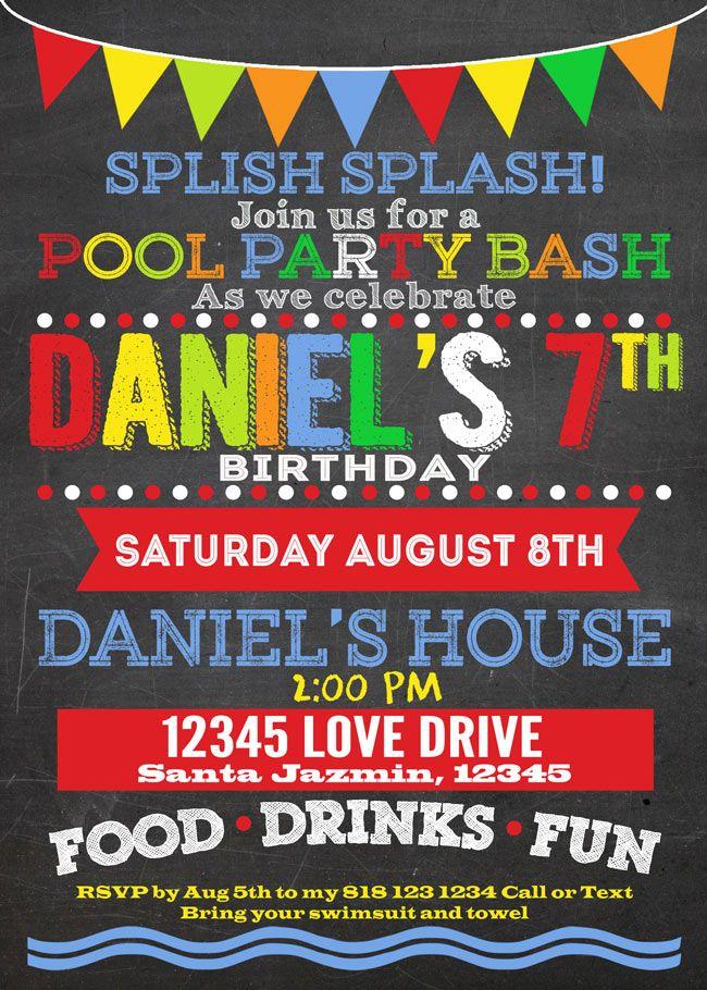 Best Printable Custom Chalkboard Pool Or Summer Party