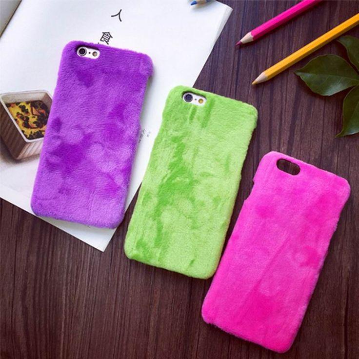 Colore Della Caramella calda Fuzzy Dura del PC Phone Back Cover Per iPhone 6 6 S 7 Plus Per iPhone 7 Caso Della Protezione Del Telefono YC1300
