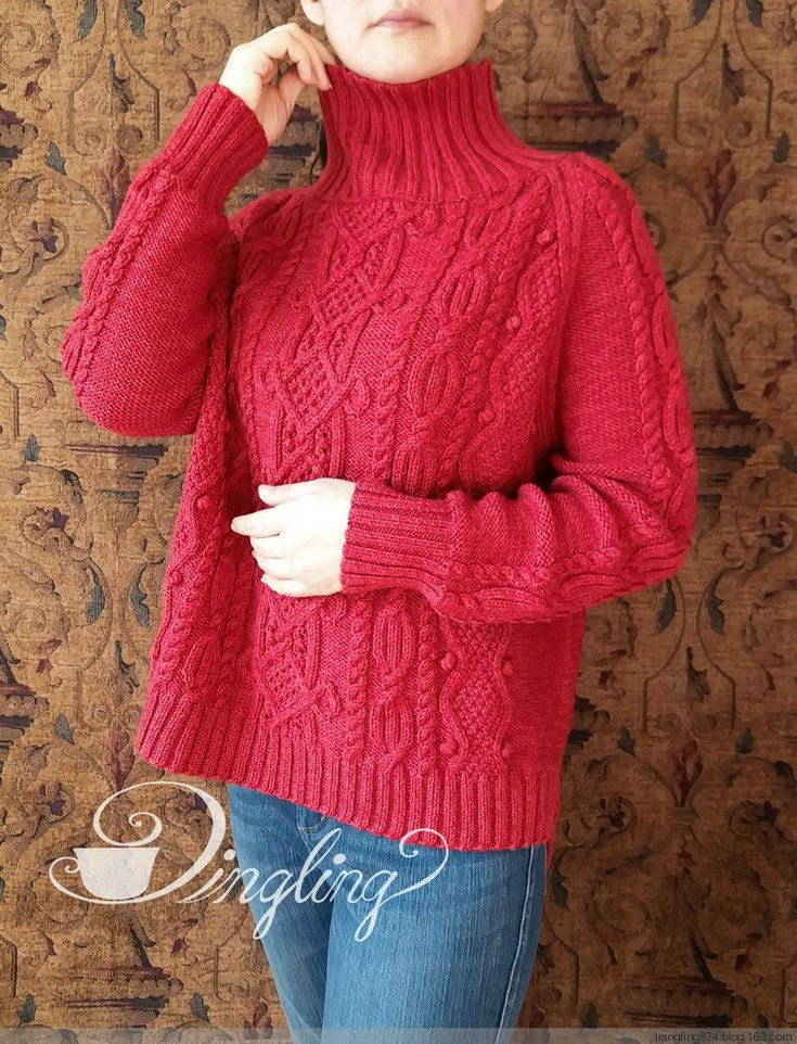 Красный узорчатый свитер спицами. Обсуждение на LiveInternet - Российский Сервис Онлайн-Дневников