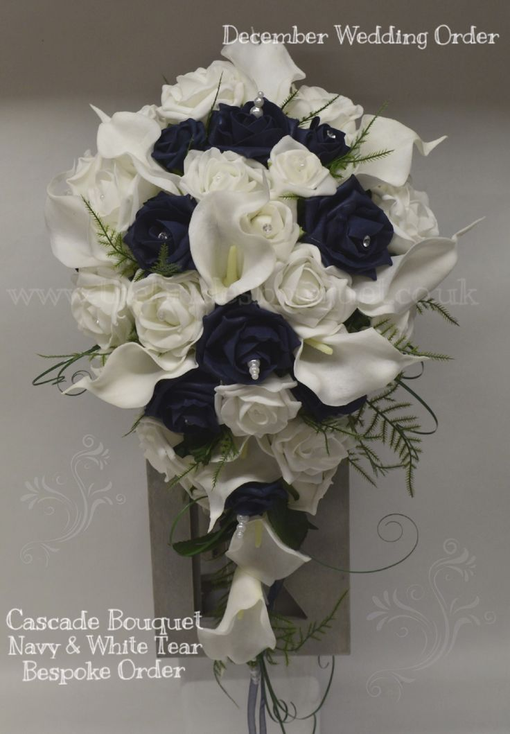 Navy blue rose with white calla and rose, artificial bridal cascade, tear bouquet