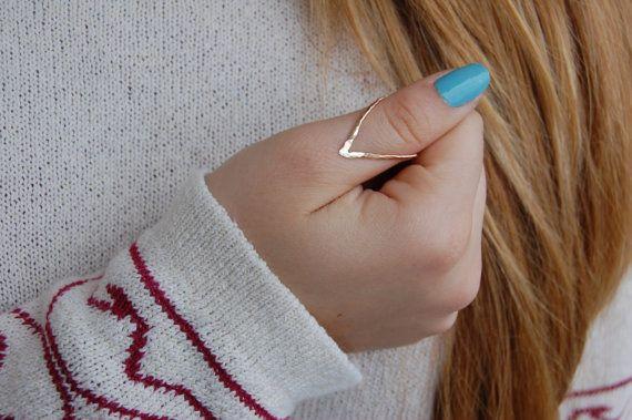 chevron ring  V  V ring  thumb ring  geometric by HiwireJewelry, $30.00