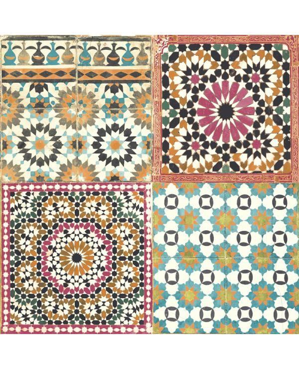 Vliesbehang Tegel Roze/Blauw/Oranje BA2504 bestel je online bij Formido, de voordelige bouwmarkt