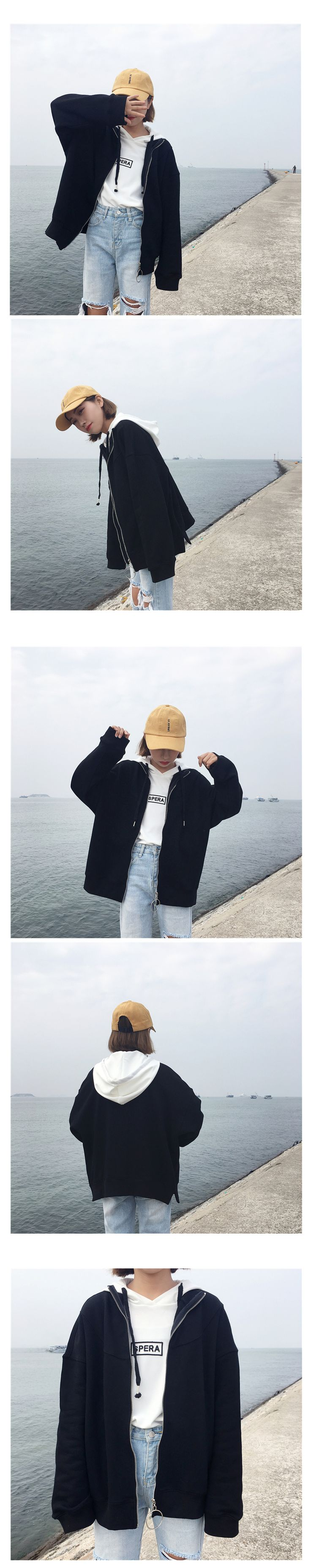 Real film! South Korea contracted long sleeve loose women sweater zipper solid color collar coat jacket - Shop @ ezbuy Singapore