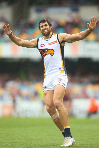 Josh Kennedy of the Eagles celebrates after kicking a goal during the round seven AFL match between the Brisbane Lions and the West Coast Eagles at The Gabba on May 11, 2013 in Brisbane, Australia.