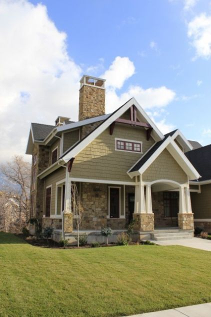 love these colors for when we repaint our Craftsman-style home. Add stone where concrete shows currently & use these exterior colors: Warm olive green, deep eggplant and ivory trim — instead of bright white — keep this exterior feeling warm all around.