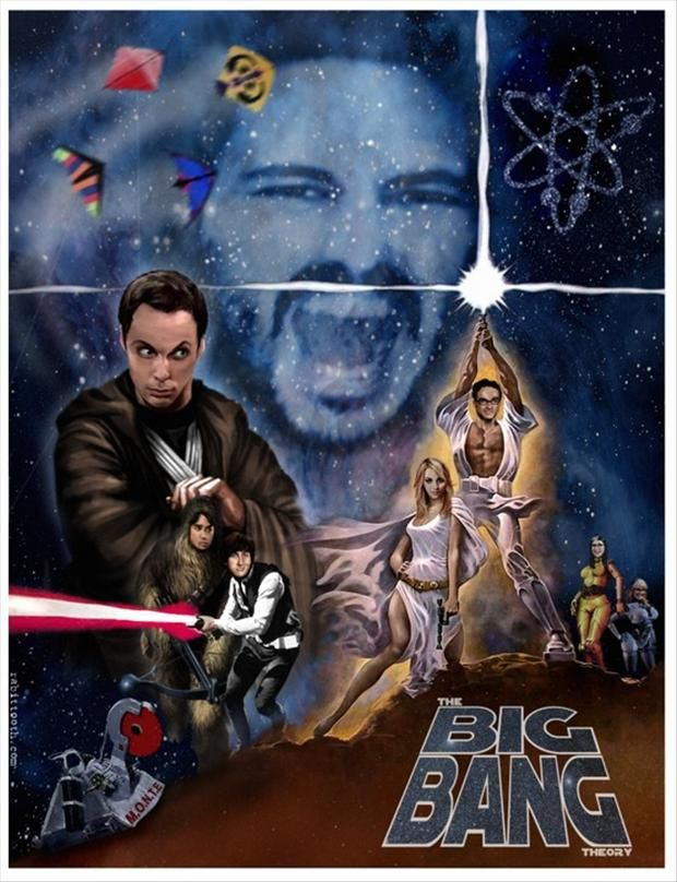 funny  star wars poster with big bang theory cast members