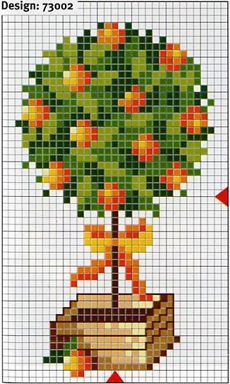 orange tree cross stitch