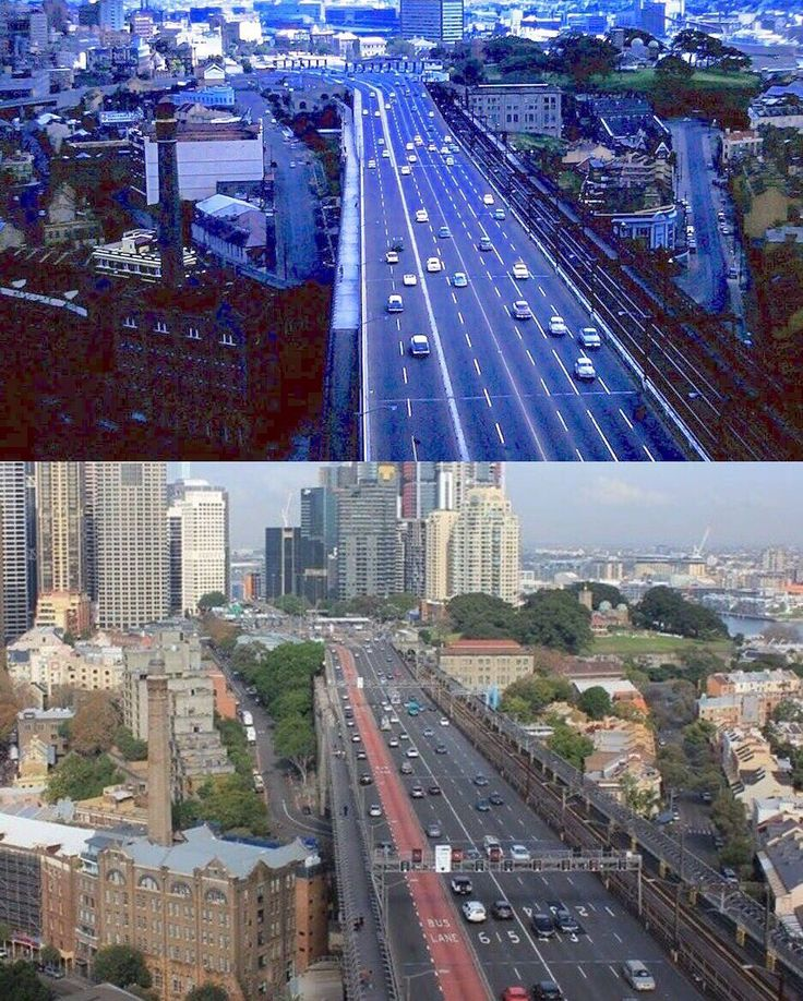 View south from Sydney Harbour Bridge Pylon Lookout early 1960s and 2016. [both photos Bruce Rigg family collection]
