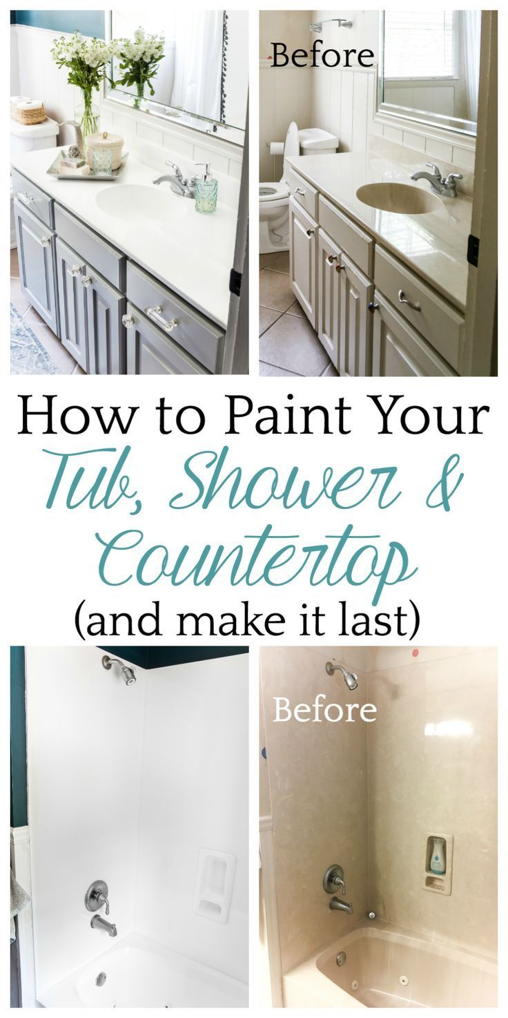 Our Painted Sink Countertop Tub Shower 8 Months Later Bless Er House Diy Bathroom Bathroom Countertops Diy Countertops