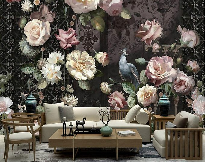 Dutch Oil Painting Big Flowers Floral Wallpaper Wall Mural, Dark Color Backgroud Pink Peony Mural for Wall Decor Home Decor