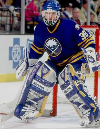 Dominik Hasek's interesting choice - the mask he became known for.