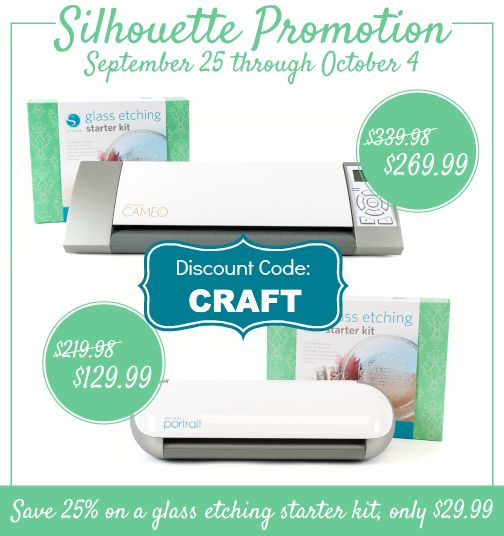 silhouette glass etching discount with code: CRAFT  + Click to enter the Silhouette Portrait Giveaway!