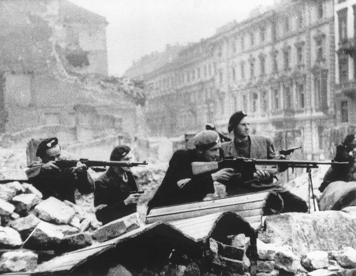 Polish insurgents during the Warsaw Uprising, 1944