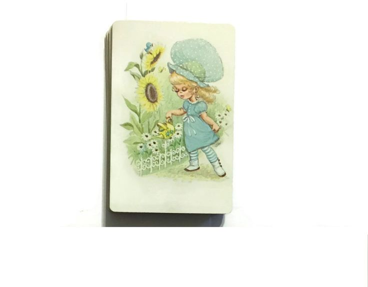 A personal favorite from my Etsy shop https://www.etsy.com/listing/265905464/blue-bonnet-girl-gardening-pinochle-card