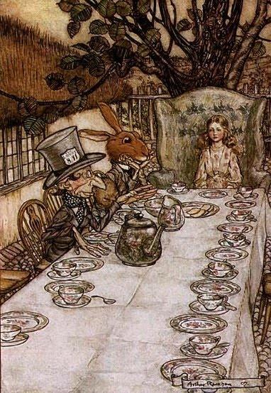 Arthur Rackham's Alice  Un tè con la lepre Marzolina