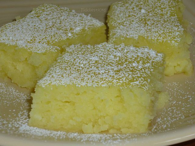 2 Ingredient Lemon Bars  1 box angelfood cake mix  1-2 cans lemon pie filling   Mix dry cake mix and pie filling   Pour into greased 9 x 13″ pan.  350 degrees for 25 min.   cool,top w/ powder sugar
