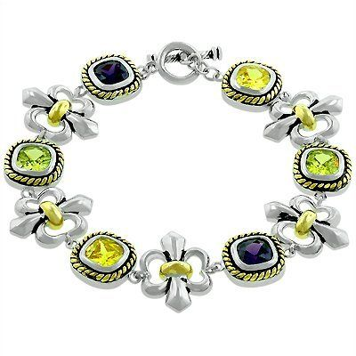 "White Gold Rhodium Bonded Fashion Bracelet with 7"" Length Cable Style Princess Cut Bezel Set Assorted Color CZ and Toggle Clasp in Tutone Bracelets - Rhodium Plated. $137.25. White Gold Rhodium Bonded. Assorted Color Cubic Zirconia. 7"" Length. Toggle Clasp. Princess Cut Bezel Set"