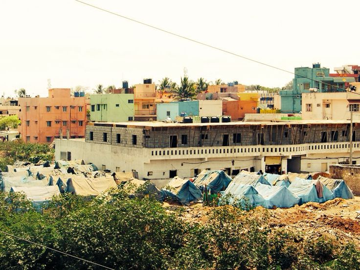 Tiny part of a slum in Bangalore, India