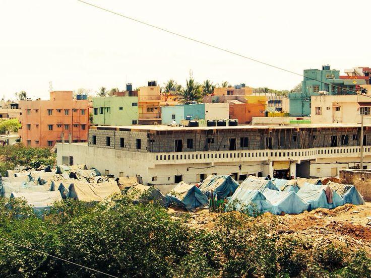 Tiny part of a slum in Bangalore, India