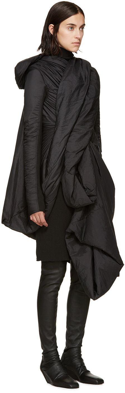 Rick Owens: Black Nylon Lakme Coat   SSENSE
