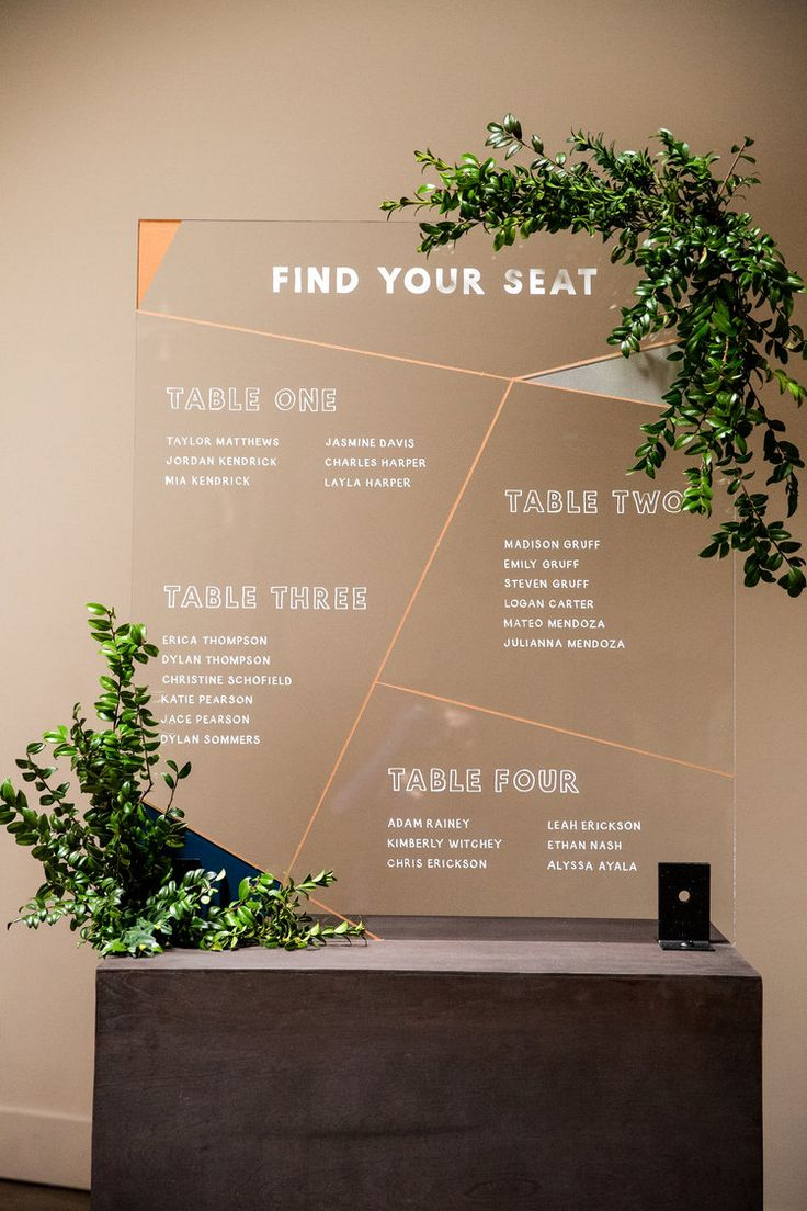 find your seat acrylic modern table plan - wedding diy idea