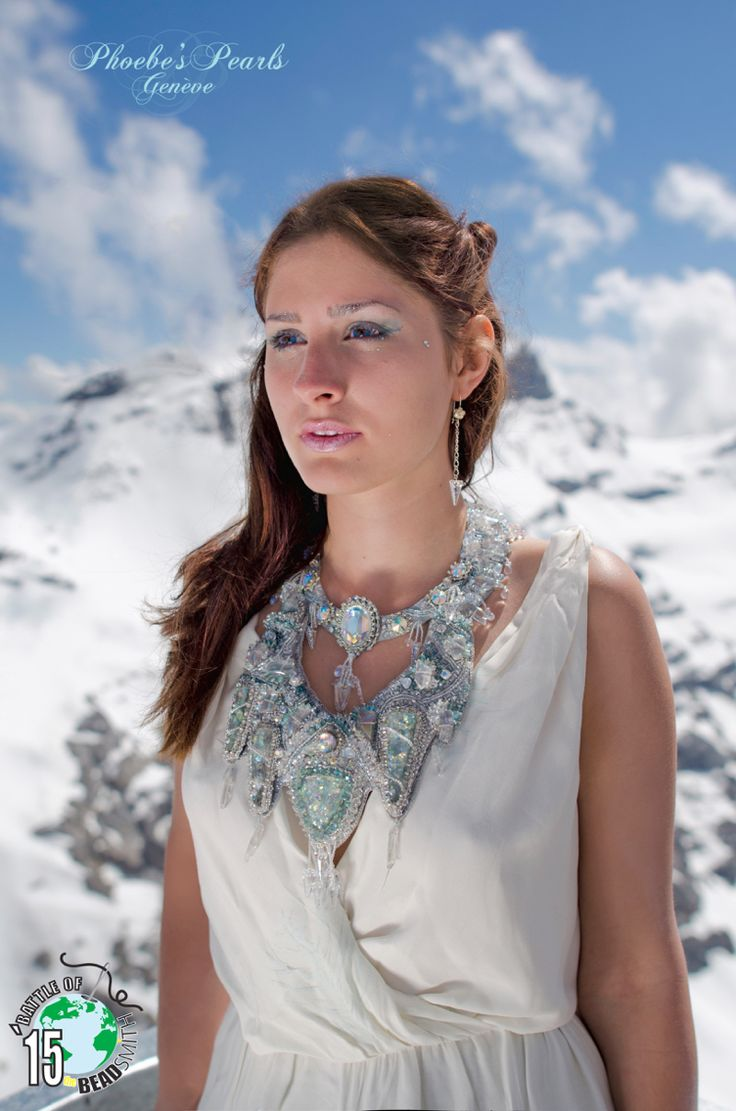My entry to the BOTB 15 (battle of the Beadsmith 2015) Baïkal bead embroidery necklace  Model : Solenne Fox Photo: Niels Renard Place : Swiss Alps