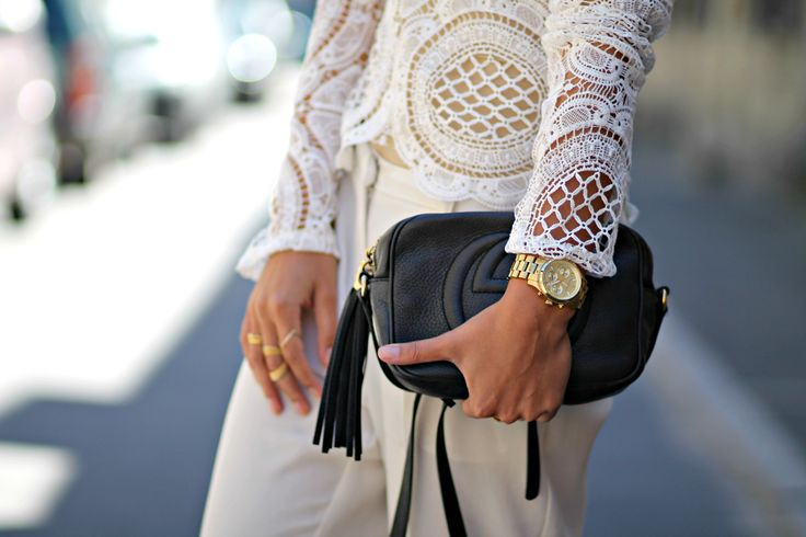 White lace outfit and Gucci Soho Disco bag from the summer of 2015. See more on natulia.com