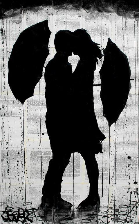 """Saatchi Online Artist: Loui Jover; Ink 2013 Drawing """"umbrellas"""""""
