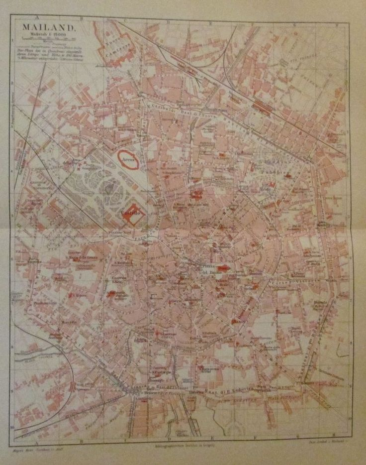 1896 MAILAND ITALIEN alte Landkarte Karte Antique Map Lithographie
