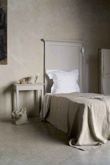 simple tall painted headboard (Farrow and Ball Stony Ground would work well) and matching bedside table (nightstand) - The Paper Mulberry: Soft shades for spring
