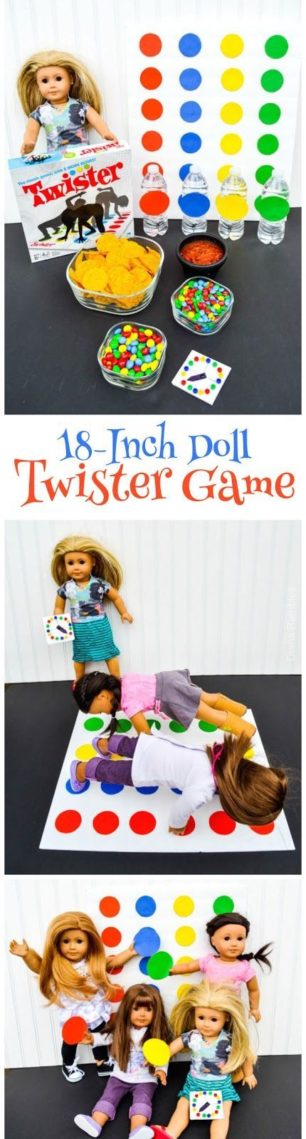 18-Inch Doll Twister Game Night  - Learn how to make this Twister Game for your American Girl Doll and have fun throwing a party too! AD #AmericanGirlDoll #DIY