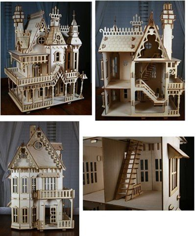 "This Laser Cut Victorian Doll House kit is cut from 1|8"" Baltic Birch (unfinished). The Kit comes un-assembled with detailed numbered instructions. This is a high quality baltic birch plywood kit - not balsa or die cut.  The Doll House measures 13.5"" wide x 10.25"" deep x 20"" high. The Doll House has 3 Stories, 4 Rooms, Functioning French doors, as well as a stair case and wrap around porch."