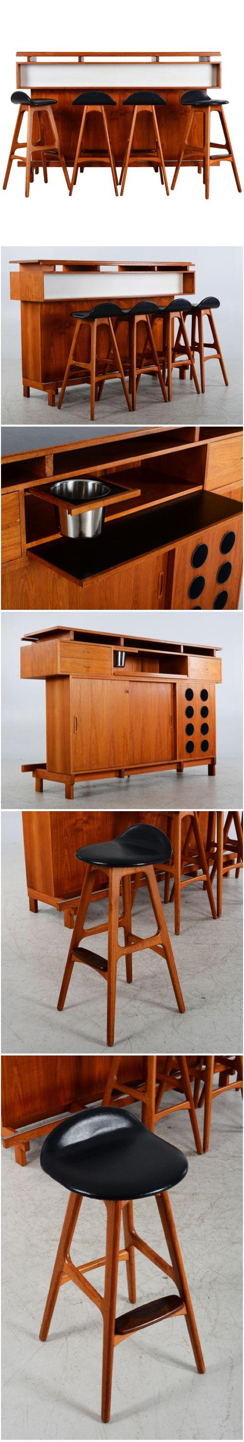 BAR & 4 BARSTOLAR, teak, retro 1960-tal, Erik Buch, Dyrlund, Danmark 4 stolar samt bardisk med förvaring av olika slag. Bruksslitage, saknar nyckel till skåpet, saknar ett handtag, smärre fanerskador. Höjd 116, 180x50 cm. http://www.auction2000.se/auk/w.Object?inSiteLang=SWEDISH&inC=AS&inA=20160825_1505&inO=1