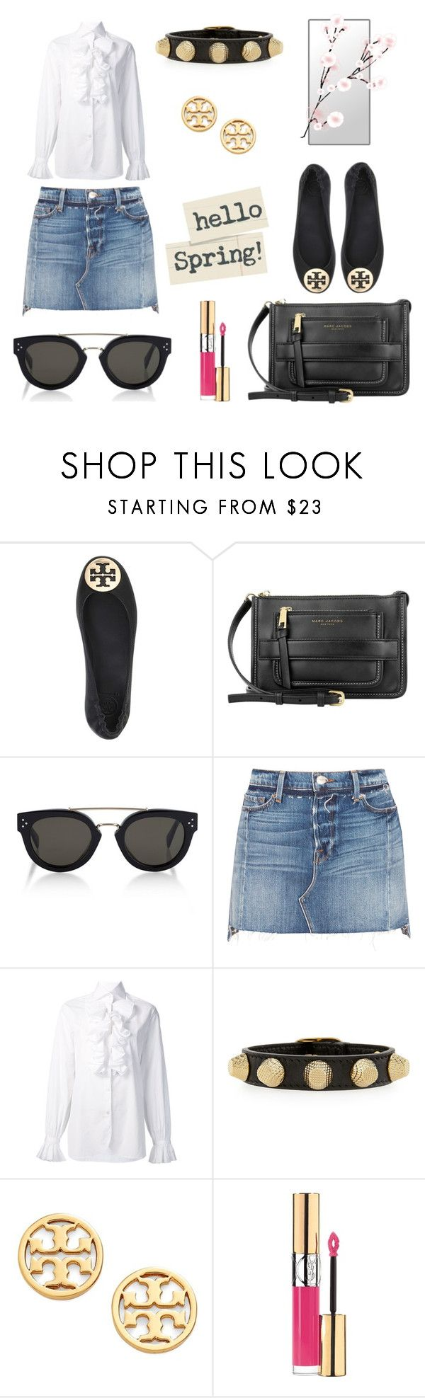 """""""Hello spring"""" by majahellstrom on Polyvore featuring Tory Burch, Marc Jacobs, CÉLINE, Frame, Ralph Lauren, Balenciaga and Yves Saint Laurent"""