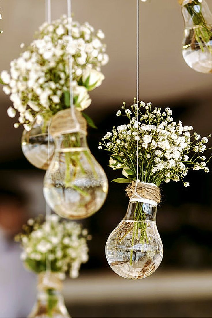 lightbulb hanging flower bouquet holders.