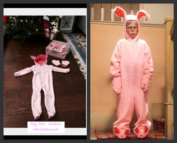A Christmas Story Pink Bunny Costume, A Christmas Story Pink Bunny Suit, Ralphie Pink Bunny Costume, Bunny Costume