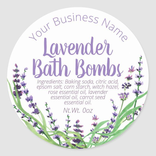 Sticker Label For Homemade Lavender Bath Bomb Zazzle Com Bath