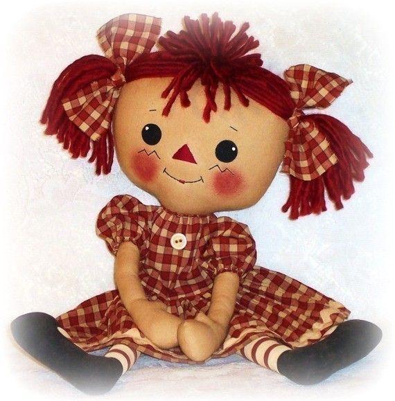 Rag Doll PATTERN, PDF PATTERN, Cloth Doll, Ragdoll, Raggedy Ann, Sewing…