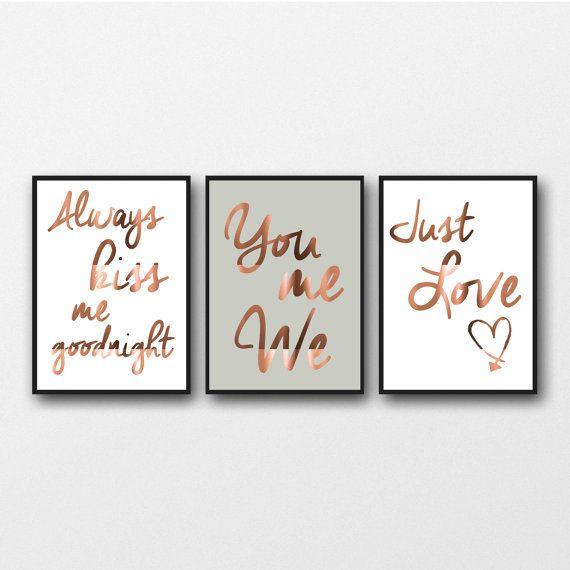 Satz von 3 Kupfer Foil Prints, Typografie Plakate, Schlafzimmer Wandkunst, Wohnkultur Stil echte Kupfer, Küss mich, immer Sie mich, wir lieben Zitat