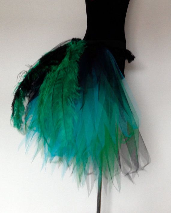 Black Green Turquoise Blue Peacock  Burlesque by thetutustoreuk
