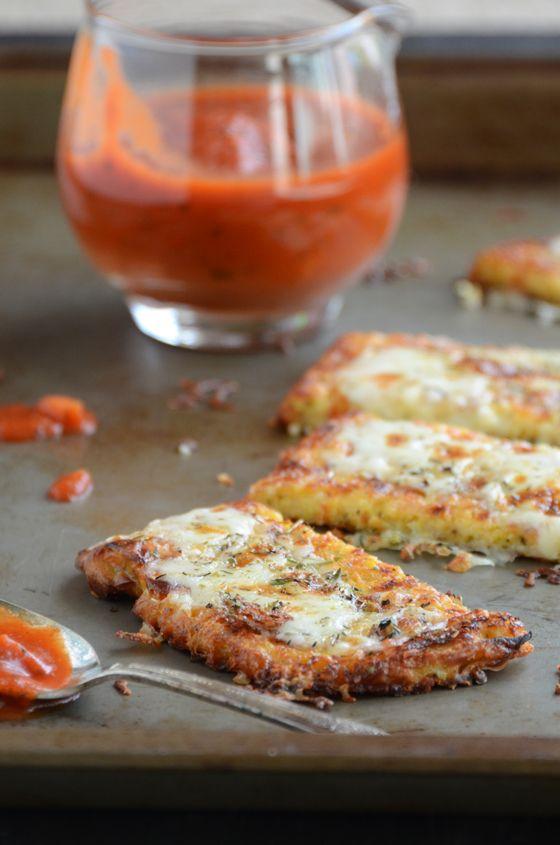 Cauliflower crust garlic breadsticks.