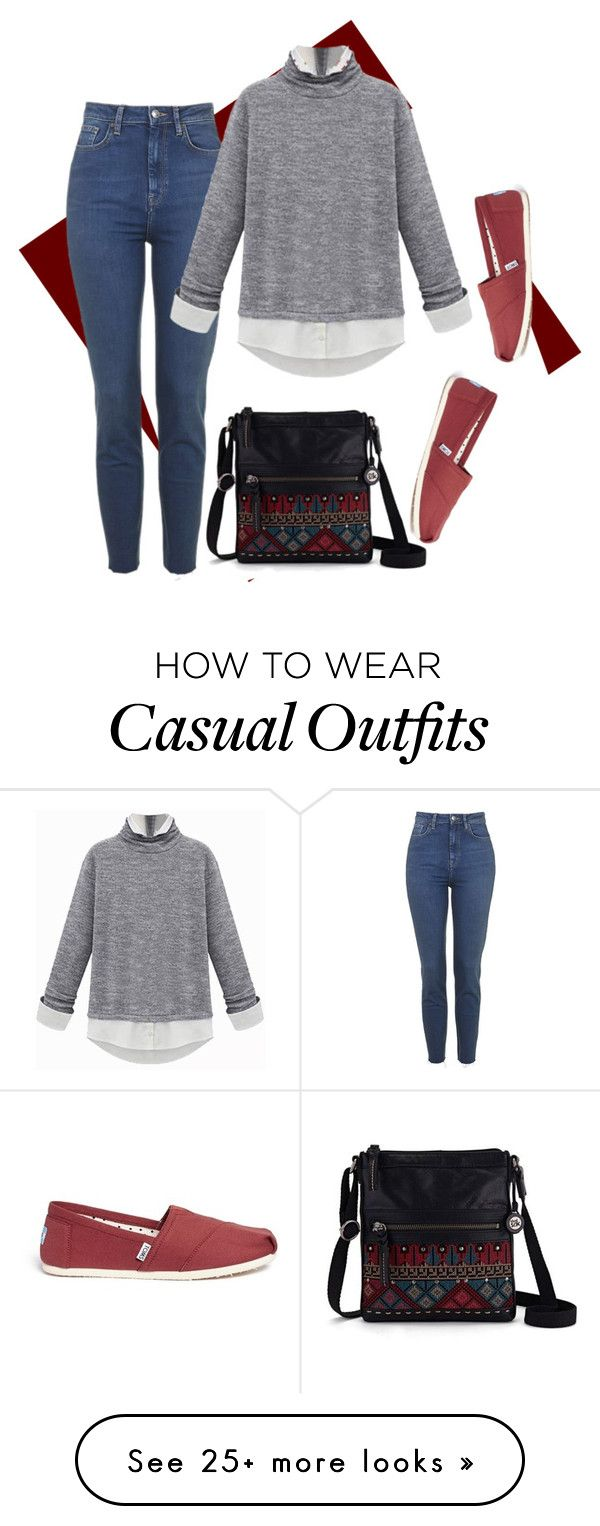 """""""Casual Winter in Miami - Turtleneck"""" by reffiney95 on Polyvore featuring The Sak, TOMS, toms and turtleneck"""
