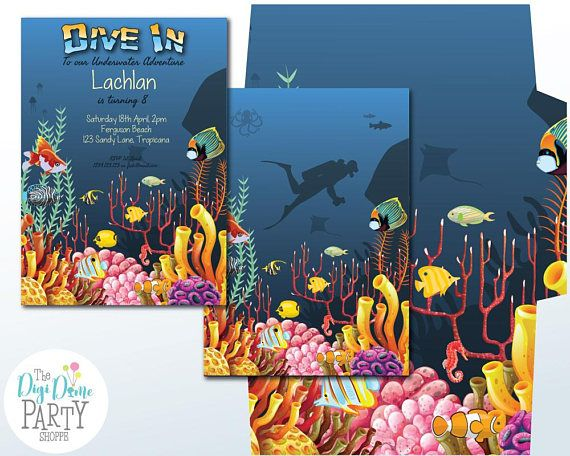 Under the Sea Party Printable Invitation 5x7in. Instant